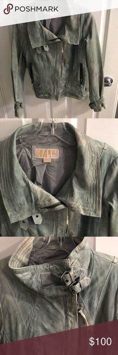 Michael Kors motorcycle jacket Super soft leather.  Grayish/blue distressed coloring Worn only a few times Fitted but not tight Michael Kors Jackets & Coats
