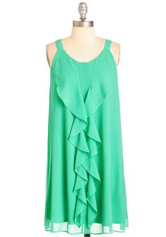 All the Bright Notes Dress - Green, Solid, Ruffles, Casual, Sundress, Shift, Tank top (2 thick straps), Spring, Woven, Mid-length