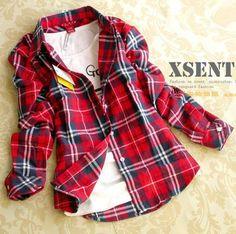 2014 new fashion women autumn-winter long Sleeves  blouse shirt shirts Single tops cotton Plaids  Flannel blouse plus size $475,00