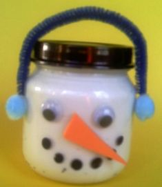 snowman from baby food jar