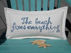 """The BEACH FIXES EVERYTHING outdoor pillow your choice of lettering color on white background 12""""x20"""" Crabby Chris Original, $38.00"""