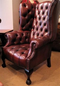 red leather quilted high backed arm chair - Google Search