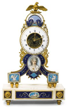 A Louis XVI enamel mounted gilt-bronze and marble mantel clock, circa 1780 5-inch annular enamel dial with polychrome outer calendar ring, moonphase dial above signed Coteau, Invt. Fecit and eagle cresting, the bell striking movement with pin wheel escapement, silk suspension and sunburst pendulum, the inverted 'Y' shaped frame applied with dark blue enamel panels decorated with gilt and polychrome flowers within finely chased gilt-bronze foliate mounts, the lower corners with turquoise and…