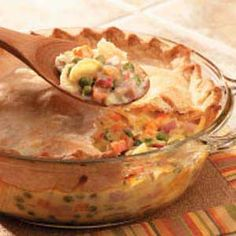 This is comfort food. Ham, veggies, and cheese come together in this filling potpie.