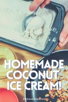 A delicious dairy-free coconut ice cream. And it's even more rich and creamy when you make it at home! This recipe starts with a simple dairy-free coconut ice cream made with canned coconut milk. There are also instructions for add-ons like pineapple and/or rum if you'd like to make it into a pina colada ice cream. Once you get the coconut ice cream recipe down, there are truly so many variations you can make! Hope you enjoy it. | thetravelbite.com | #Coconut #Icecream Coconut Ice Cream, Canned Coconut Milk, Coconut Rum, Pina Colada, Ice Cream Recipes, Dairy Free, Pineapple, Desserts, Sherbet Recipes