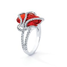 2012 Jewelers Choice Award for Best Colored Stone Jewelry.18k white gold ring with 6.47 ct. fire opal and 0.85 ct. t.w. colorless diamonds; $6,304; Yael Designs, San Francisco