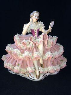 Antique DRESDEN porcelain.  Large Ballerina with mirror   Marked  #dresden #dresden