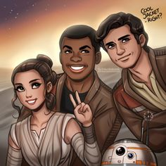 "Dream Team from ""Star Wars Episode VII"" :D Fam photo! Rey, Finn, Poe and BB-8"
