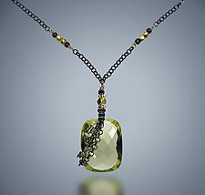 """Citrine and Silver Necklace by Judy Bliss (Silver & Stone Necklace) (0.75"""" x 0.5"""")"""