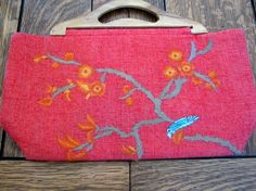 Moyna Handbag Embroidered Hand Crafted Wood Handle by SloFabulous, $20.00