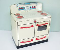 1950s Marx Metal Toy Play Stove with a Working Oven Door and Red Handles, Red Knobs and Blue Accents