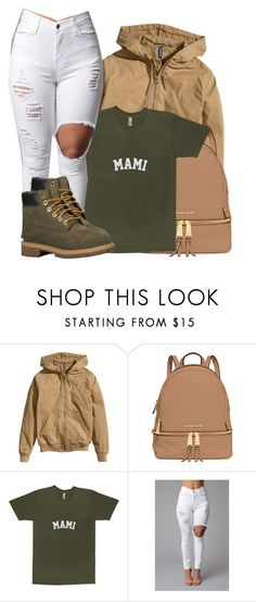 """""""Jacquees - Hot Girl"""" by tanishacain ❤ liked on Polyvore featuring moda, H&M, MICHAEL Michael Kors y Timberland"""