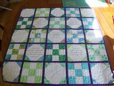 Baby Scripture Quilt - Such a Fun and Easy Quilt to make with the 9-patch and the snowballs :) :)