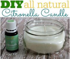 """1/2 pint """"short"""" mason jar. 10 Drops young living EO Citronella Flaked Soy Wax (dont use beeswax(it wont smell the same) smokeless wick https:/www.facebook.com/pages/Young-Living-Essential-Oils/671142936328327 Katherine Dorsey @2226470. Contact me for more information or updates"""