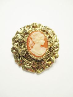 Vintage Resin CAMEO Pin Brooch Gold Plated Flowers/Vines Antiqued Mounting #UnbrandedResinCameoinGoldPlatePinBrooch