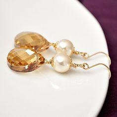 $50 Bridemaid Jewelry, Gold Bridesmaid Earrings, Golden Crystal Earrings, Champagne Earrings, Bridesmaids Jewellery
