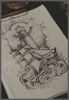 Better Drawing lighthouse and ship by Karviniya - Tattoo Sketches, Tattoo Drawings, Compass Tattoo Drawing, Nautical Tattoo Sleeve, Nautical Tattoos, Lighthouse Drawing, Lighthouse Tattoos, Berg Tattoo, Pirate Ship Tattoos