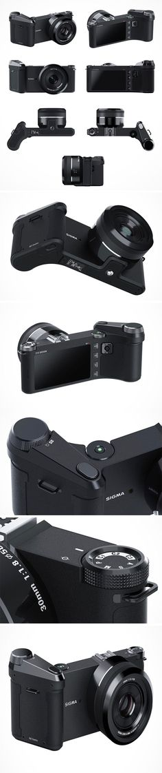 This re-design of the Sigma dpQ camera takes into account the hand-held comfort while still retaining the iconic shape of the body. The extended section on the right-hand side of the device is reminiscent of that of the modern DSLRs; the user can position their fingers around the front of the device, therefore holding the device more securely!