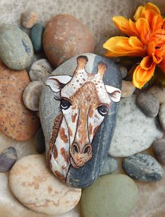 GIRAFFE Painted Beach Stone Paperweight by PaintMyselfPretty, $16.00