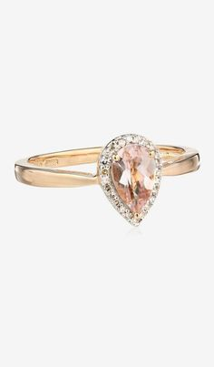 10k Rose Gold Morganite Pear Shape Center and Diamond Halo Ring