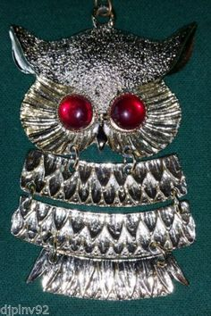 Vintage Owl, Gold Toned Articulated Pendant Necklace with Red Eyed