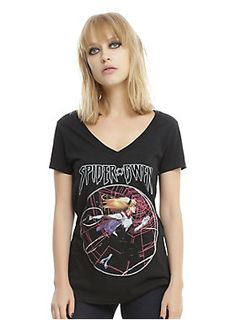 """Black V-neck tee from Marvel featuring a circular logo design inspired by Jerome Pena's variant illustration for the cover of <i>Spider-Gwen </i>issue #1.<br><ul><li style=""""LIST-STYLE-POSITION: outside !important; LIST-STYLE-TYPE: disc !important"""">60% cotton; 40% polyester</li><li style=""""LIST-STYLE-POSITION: outside !important; LIST-STYLE-TYPE: disc !important"""">Wash cold; dry low</li><li style=""""LIST-STYLE-POSITION: outside !important; LIST-STYLE-TYPE: disc !important"""">Imported</li><li…"""
