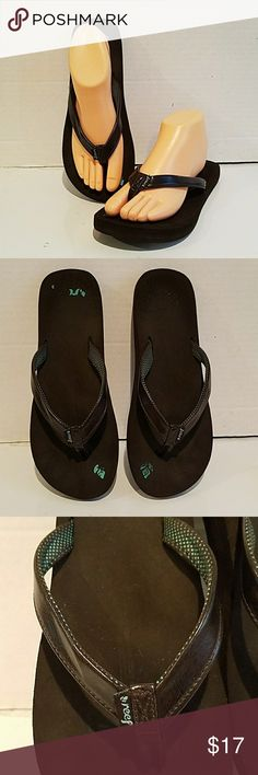 8122c17b834a LADIES REEF BROWN FLIP FLOPS SANDALS (sz 9) Ladies brown Reef flip flops