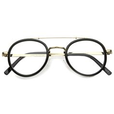 RETRO HIPSTER INDIE DAPPER ROUND CLEAR LENS AVIATOR GLASSES