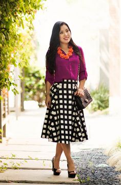 cute & little blog | petite fashion | radiant orchid shirt, kate spade windowpane checked skirt, orange flower bib statement necklace | spring outfit | Flickr - Photo Sharing!