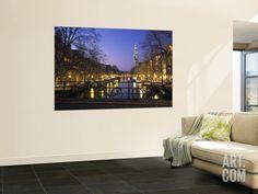 Prinsengracht and Wsterkerk, Amsterdam, Holland Wall Mural by Jon Arnold at Art.com