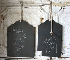 Chalk Board Panels   Rustic Wedding Decorations   Same-Day Shipping - Love this! Maybe to identify individual seats, like mother of the bride, etc.?