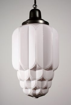 Two Matching Antique Art Deco Skyscraper Pendant Lights With Sun Art Deco Pendant Lights