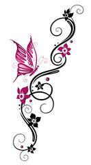 Vektor: Ranke, flora, Blüten, Schmetterlinge, schwarz, pink