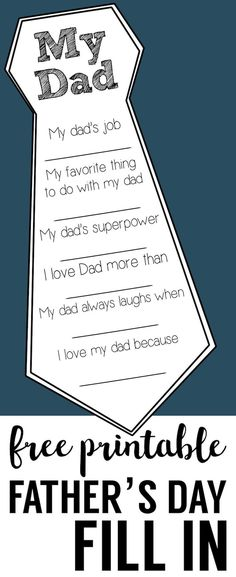 gifts for dad Fathers Day Free Printable Cards. DIY Fathers Day fill in cards are a great fathers day craft. Easy Fathers Day homemade gifts for Dad and Grandpa. Great Father, Mother And Father, Mothers, Father Sday, Birthday Present Dad, Diy Birthday, Birthday Gifts, Birthday Souvenir, Birthday Quotes