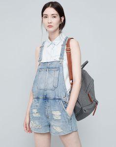 Pull&Bear - dames - tuinbroeken en jumpsuits - korte denim tuinbroek met scheuren - blauw - 05637318-I2015
