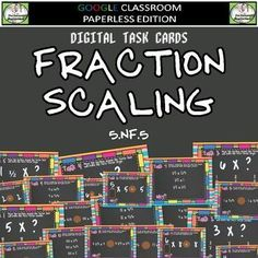 Fraction Multiplication as Scaling Digital Task Cards 5.NF.5    Includes:    *5 Cards to select the correct factor to fulfill requirements of directions.  *5 Cards to select the correct expression.   *5 Cards to correctly compare expressions using compari