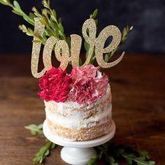 Love Cake Topper - Gold Glitter Card Stock