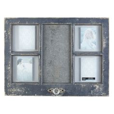 <div>Nicely distressed collage frame looks like a window that you picked up at an antique fair! ...