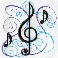13 Music Machine Embroidery Designs Images - Free Machine ...