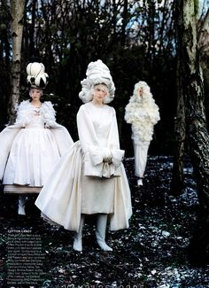 "Frida Gustavsson, Mirte Maas & Anais Pouilot in ""Jewel in the Crown,"" Vogue US May 2012 Photographed by: Tim Walker"