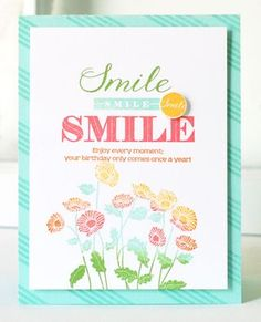 Smile Card by Betsy Veldman for Papertrey Ink (August 2013)