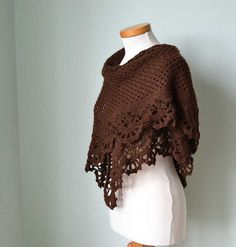 Brown angora crochet shawl by BernioliesDesigns, via Flickr