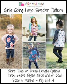 Girl's Going Home Raglan Sweater PDF Sewing Pattern by Ellie and Mac
