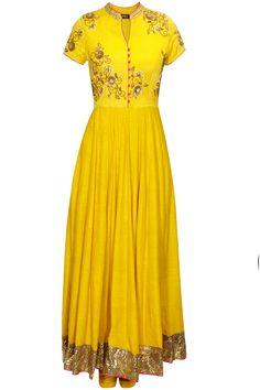 Mustard yellow hand embroidered anarkali set by Tisha Saksena. Shop now: www.perniaspopups.... #anarkali #beautiful #designer #tishasaksena #clothing #shopnow #perniaspopupshop #happyshopping