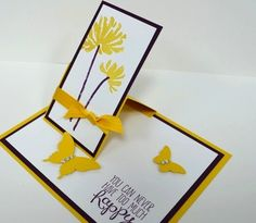 """I have been meaning to post this sweet card ever since I received it from my upline Mindy Gray. It is displayed on a shelf in my craft room, and it gets a lot of compliments so I am sure you will like it, too! Isn't t charming with its fall colors and lighthearted sentiment? The flowers are from """"Too Kind"""" and the sentiment is from """"Yippee-Skippee"""". It is a One-Flap Easel card - you can see from the side that a cardstock easel props up a panel for display. Its rea..."""