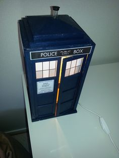 """nestene-consciousness: """" dad built a lamp that looks exactly like a tardis and you can open the door and everything i'm so happy just look at it it's blue i swear """" Doctor Who: Tardis lamp"""