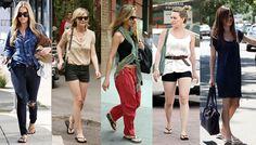 These super trendy celebs wear their flip flops anywhere!    From Left to Right:  Lauren Conrad, Kirsten Dunst, Jennifer Aniston, Hilary Duff, Rachel Bilson