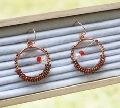 Green Red Unique Christmas Round Earrings Copper Wire Wrap Crystals Seed Beads