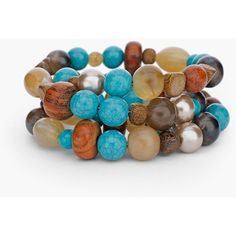 Chico's Everly Coil Bracelet (2,610 INR) ❤ liked on Polyvore featuring jewelry, bracelets, turquoise, wood bead jewelry, wood bangle, wooden bead jewelry, wooden bangles and chicos jewelry