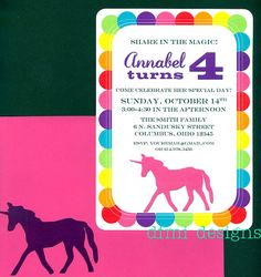 Rainbow UNICORN 5 x 7 party invitations set of 15 by dfmidesigns, $21.75